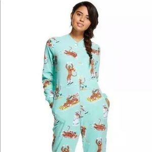 WOMENS XXL NICK & NORA one piece PAJAMAS sleepwear